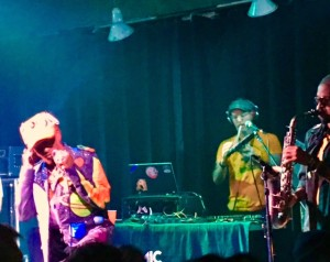 Lee Scratch Perry with member from Subatomic Sound System performing in Santa Cruz