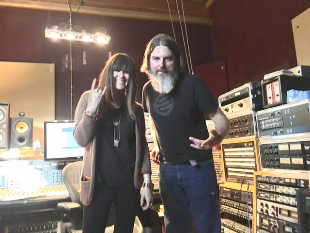 Vanessa Silberman and DJ Strangeblood at Lucky Recording Studios in Brisbane, Ca.